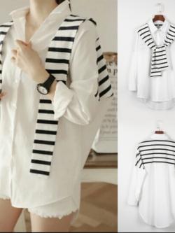เสื้อแฟชั่นแขนยาวสีขาว แต่งผ้าคลุมไหล่ น่ารัก