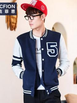 เสื้อแจ็คเก็ตแขนยาวเกาหลี สีน้ำเงินเข้ม แต่งแถบแขนเสื้อ แนวเบสบอล