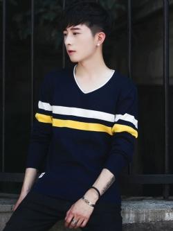 Pre Order เสื้อผู้ชายคอวี แนวเกาหลี ผ้าถักแขนยาว แต่งลายคาดอก มี4สี