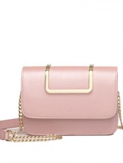 กระเป๋าสะพายข้างหญิงแฟชั่น แต่งขอบทอง ดีไซน์เรียบหรู มี5สี