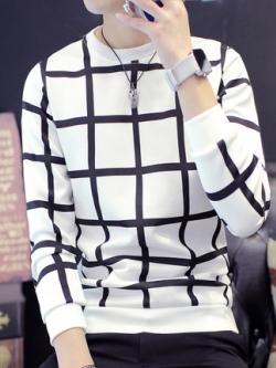 เสื้อแฟชั่นแขนยาวเกาหลี สีขาว พิมพ์ลายตาราง เท่มาก มี2สี