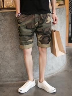 กางเกงขาสั้นเกาหลี แต่งลายพรางทหารสีเขียว แนวแฟชั่น
