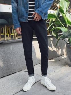 กางเกงยีนส์ขายาวเกาหลี ทรงตรง เรียบสวย มี2สี