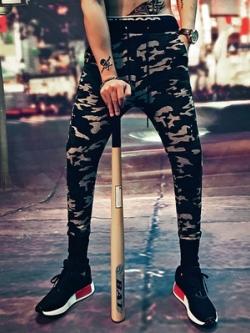 กางเกงวอร์มกีฬาขายาว ลายพรางทหาร แต่งจั้มปลายขา