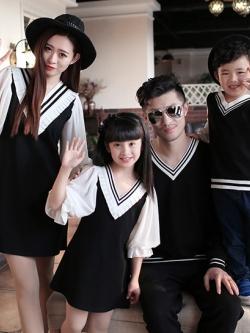 ชุดครอบครัวเซท4ชุด เดรสสั้นแขนบอลลูน+เสื้อแขนยาวคอV