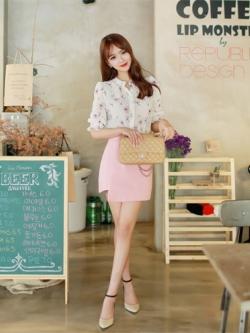 ชุดเดรสสั้นเกาหลี ชุดทำงานสวยหรู สีขาว/ชมพู แต่งพิมพ์ลายดอกไม้