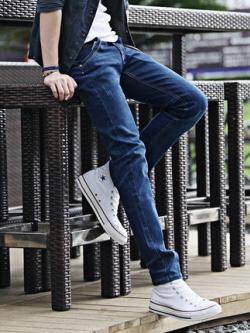กางเกงยีนส์ขายาวเกาหลี สีน้ำเงินเข้ม ดีไซส์เรียบสวย