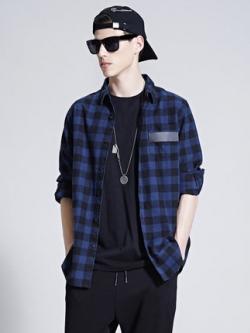 เสื้อเชิ้ตแขนยาวเกาหลี สีน้ำเงิน ลายสก๊อต แต่งขอบกระเป๋า