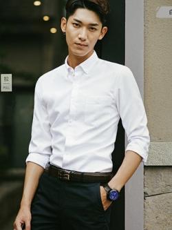 เสื้อเชิ้ตแขนยาวเกาหลี แต่งกระเป๋าเสื้อ แนวลำลอง มี4สี