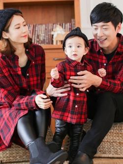 ชุดครอบครัวเซต3ชิ้น สีแดงลายสก๊อต เสื้อเชิ้ตแขนยาว ตัวยาว แนวเกาหลี