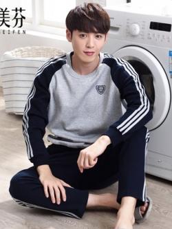 ชุดนอนเกาหลี แต่งแถบเส้นแขนเสื้อ เสื้อแขนยาว+กางเกงขายาว มี2สี