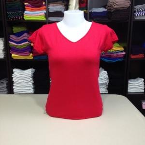 """เสื้อยืดคอวี สีแดง size """"M"""""""
