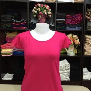 """เสื้อยืดคอกลม สีชมพูบานเย็น size """"M"""""""