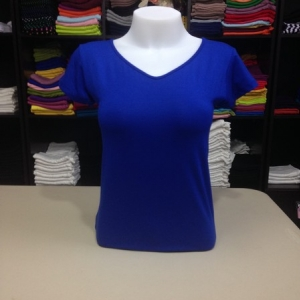 """เสื้อยืดคอวี สีน้ำเงิน size """"M"""""""