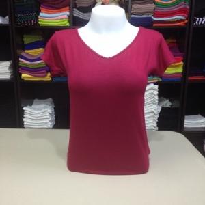 """เสื้อยืดคอวี สีแดงโรส size """"M"""""""