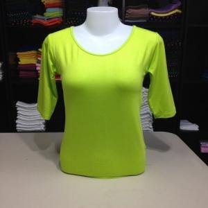 """เสื้อยืดแขน3ส่วน size""""M"""" สีเขียวมะนาว"""