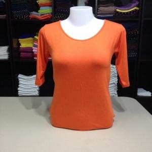 """เสื้อยืดแขน3ส่วน size""""M"""" สีส้มสด"""