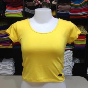 เสื้อยืดครึ่งตัว สีเหลืองสด