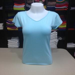 """เสื้อยืดคอวี สีฟ้าอ่อน size """"M"""""""