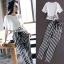 ++สินค้าพร้อมส่งค่ะ++ชุดแฟชั่นเซ็ทเกาหลี เสื้อคอกลม แขนสั้น เอวลอยสกรีนชายเสื้อน่ารัก+กางเกงขายาวลายริ้ว ผ้าชีฟองเก๋ – สีขาว thumbnail 1