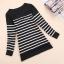 Qian Yi *Pre-order*เสื้อคลุมไซส์ใหญ่ แขนยาว ลายแขวาง ขาวดำ thumbnail 3
