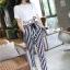 ++สินค้าพร้อมส่งค่ะ++ชุดแฟชั่นเซ็ทเกาหลี เสื้อคอกลม แขนสั้น เอวลอยสกรีนชายเสื้อน่ารัก+กางเกงขายาวลายริ้ว ผ้าชีฟองเก๋ – สีขาว thumbnail 2