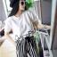 ++สินค้าพร้อมส่งค่ะ++ชุดแฟชั่นเซ็ทเกาหลี เสื้อคอกลม แขนสั้น เอวลอยสกรีนชายเสื้อน่ารัก+กางเกงขายาวลายริ้ว ผ้าชีฟองเก๋ – สีขาว thumbnail 7