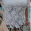 PreOrderไซส์ใหญ่ - เซตคู่เสื้อกางเกงแฟชั่น ไซส์ใหญ่ คนอ้วน 3 ชิ้น เสื้อลูกไม้สีขาว พร้อมเสื้อสายเดียวซับข้างใน กางเกงขาสั้นพิมพ์ลายดอกไม้ีดำขาว thumbnail 6