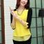 PreOrderคนอ้วน - เสื้อแฟชั่นเกาหลี คนอ้วน ไซส์ใหญ่ ผ้าฝ้าย ดีไซส์เก๋ ๆ ใส่ได้หลายงาน สีดำเหลือง thumbnail 2