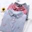 เสื้อเชิ๊ตเข้ารูป ผ้าลายตาราง ตัวผ้าปักลายดอกไม้สีชมพู พร้อมส่ง 3 สี thumbnail 2