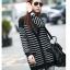 Qian Yi *Pre-order*เสื้อคลุมไซส์ใหญ่ แขนยาว ลายแขวาง ขาวดำ thumbnail 1