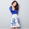 แฟชั่นเกาหลี set เสื้อและกระโปรง สีน้ำเงิน
