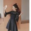 ชุดเดรสสีดำ ตัวเสื้อผ้าลูกไม้เนื้อนิ่มมากๆ แขนยาวสี่ส่วน