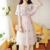 เดรสออกงาน สีชมพูโอรส เดรสผ้าโปร่งปักลายดอกไม้ งานปักสวยละเอียดมากๆ ตัวเสื้อด้านในแขนกุด