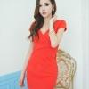 ชุดเดรสเกาหลี เดรสคอวี เข้ารูป สีส้ม นำเข้า สวยมากๆ ซื้อเป็นของขวัญให้แฟนเหมาะมากๆ ครับ New!! (พร้อมส่ง)