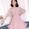 ชุดเดรสสวยๆ ผ้าโพลีเอสเตอร์ผสมสีชมพู เปิดไหล่ ช่วงอกเย็บซ้อนด้วยผ้าลูกไม้ไขว้กัน ผ้าลูกไม้คลุมต้นแขน