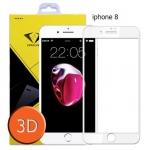 ไอโฟน 8 ฟิล์มกระจกเต็มจอ 3D ขอบ Carbon fiber สีขาว