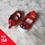 รองเท้าผ้าใบแบบสวมลายกระต่ายแต่งพู่ด้านหลัง สีแดง