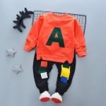 ชุดเซ็ตเด็กผ้ายืดเสื้อส้ม A กางเกงสีดำ