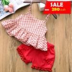 ชุดสาวน้อยเสื้อลายดอกสายสปาเก็ตตี้+กางเกงขาสั้น #สีแดง