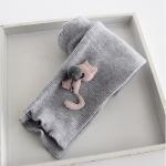 กางเกงเลกกิ้งลอนลูกฟูก แต่งแมว3มิติปลายขา สีเทา