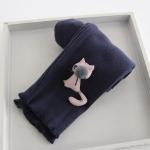 กางเกงเลกกิ้งลอนลูกฟูก แต่งแมว3มิติปลายขา สีน้าเงินหม่น