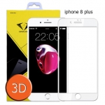 ไอโฟน 8 พลัส ฟิล์มกระจกเต็มจอ 3D ขอบ Carbon fiber สีขาว