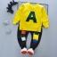 ชุดเซ็ตเด็กผ้ายืดเสื้อเหลือง A กางเกงสีดำ thumbnail 1