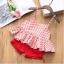 ชุดสาวน้อยเสื้อลายดอกสายสปาเก็ตตี้+กางเกงขาสั้น #สีแดง thumbnail 1