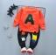 ชุดเซ็ตเด็กผ้ายืดเสื้อส้ม A กางเกงสีดำ thumbnail 1