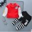 ชุดเซ็ตเด็กผ้ายืดเสื้อแดง กางเกงลายขวางสีดำ thumbnail 1