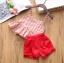 ชุดสาวน้อยเสื้อลายดอกสายสปาเก็ตตี้+กางเกงขาสั้น #สีแดง thumbnail 2
