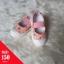 รองเท้าผ้าใบแบบสวมมีสายรัดหน้าเท้าลายดอก สีชมพู thumbnail 1