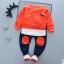 ชุดเซ็ตเด็กผ้ายืดเสื้อส้ม กางเกงสีดำวงส้มหัวเข่า thumbnail 1
